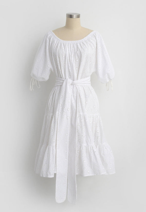 Vera Dress in Cotton Eyelet