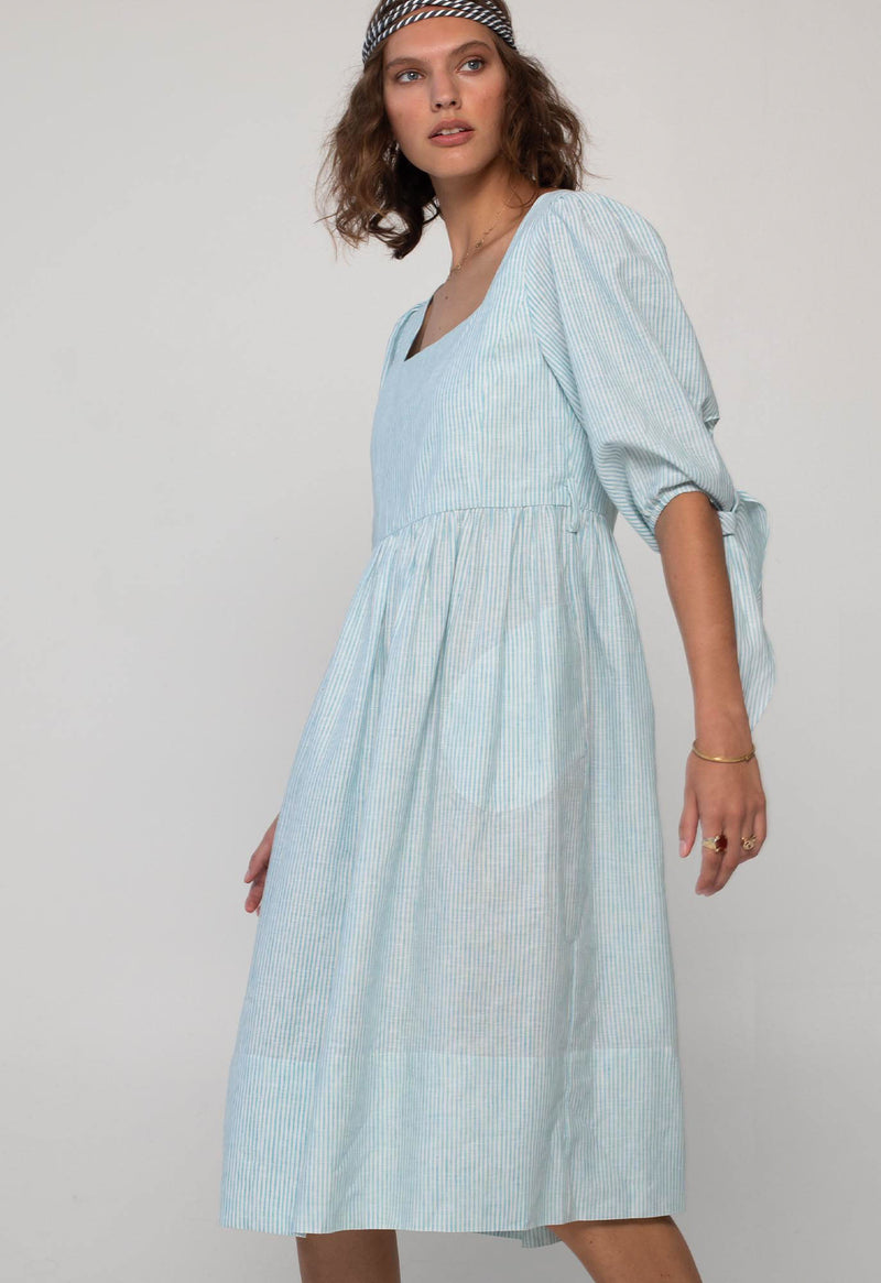 Eularia Dress in Turquoise Stripe