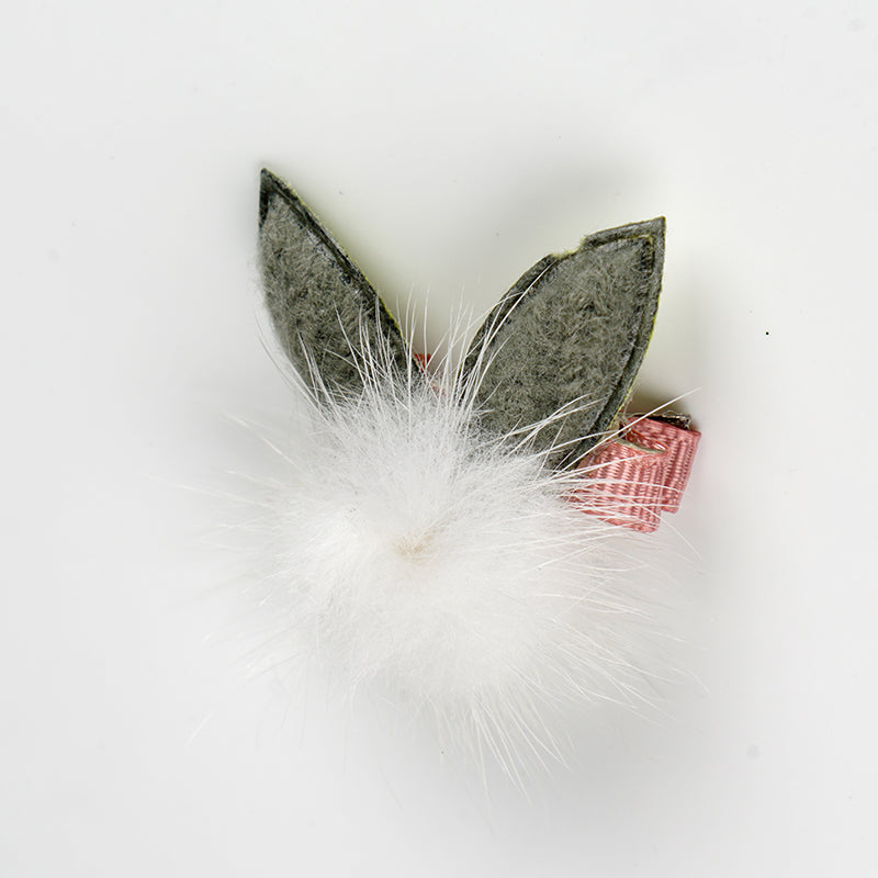 Pompon with Green Rabbit Ear Pet Hair Clip-A095