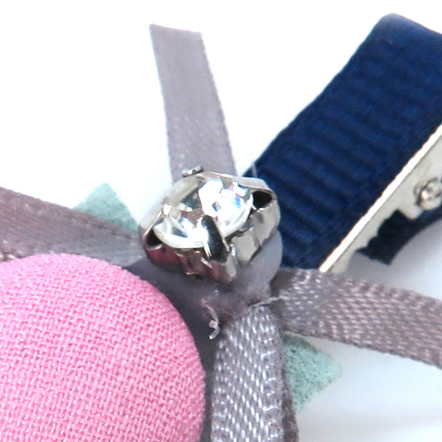 Ribbon Diamond Pet Hair Clip-Pink&Grey(12 PCs/set)-A084