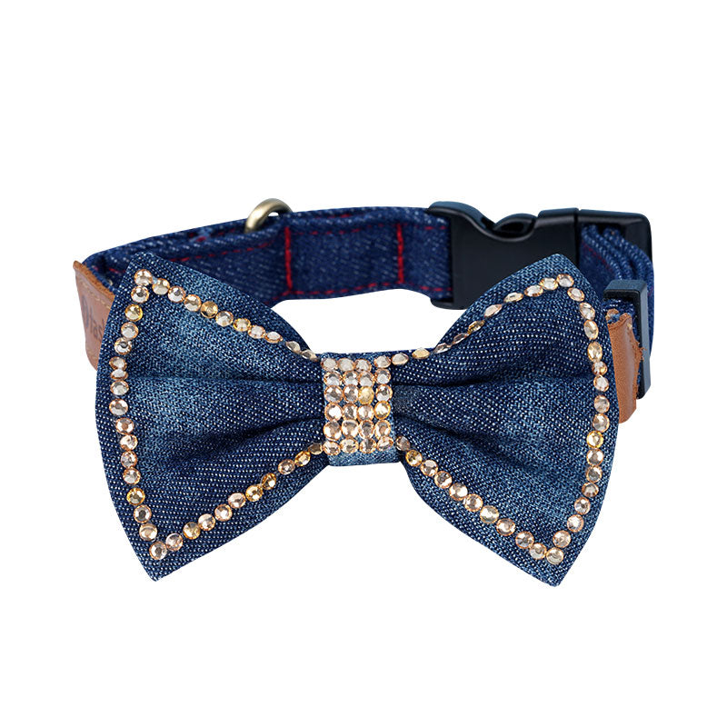 Denim Bowknot with Crystal - A082 - Light Blue