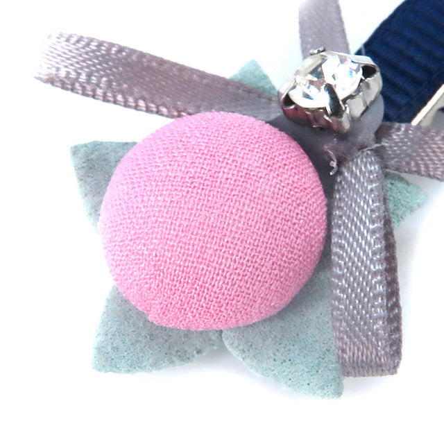 Ribbon Diamond Pet Hair Clip-Pink&Grey-A084
