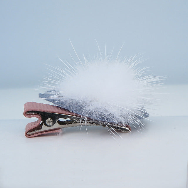 Pompon with Blue Rabbit Ear Pet Hair Clip-A093