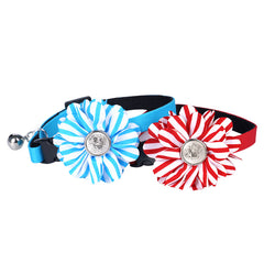 Stripe Fabric Pet Flower Collar - A048