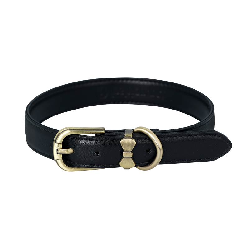 Comfortable Microfiber Pet Collar - Black (Gold) - A074