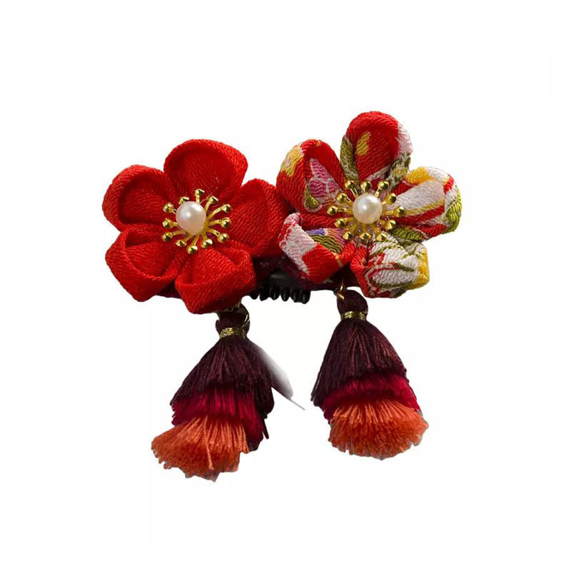 Traditional Japanese Cornflower Clip - Double Flower-B021