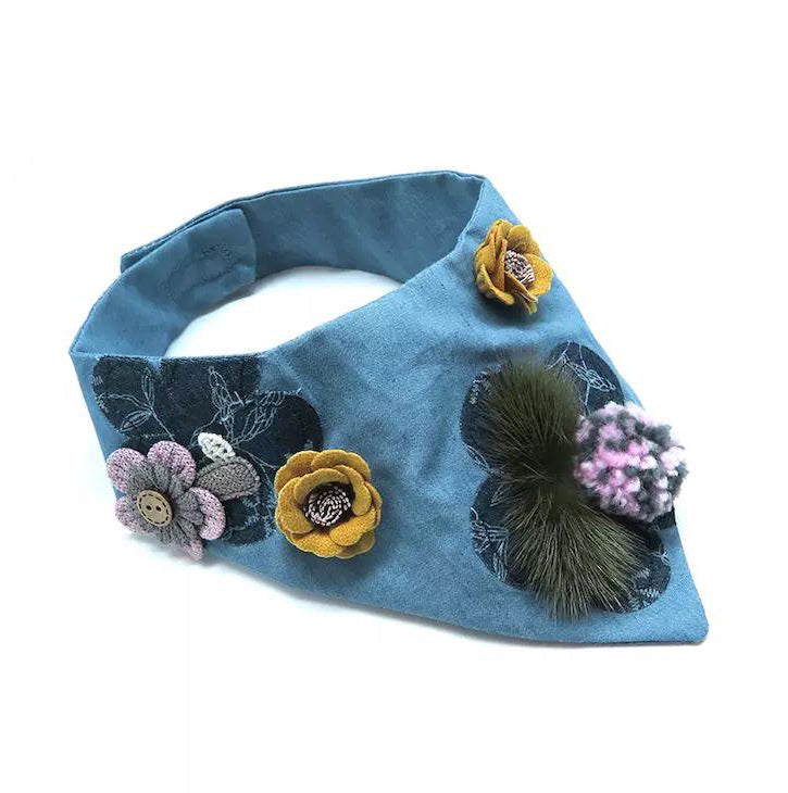 Pom-pom Fresh Denim Collar - B040