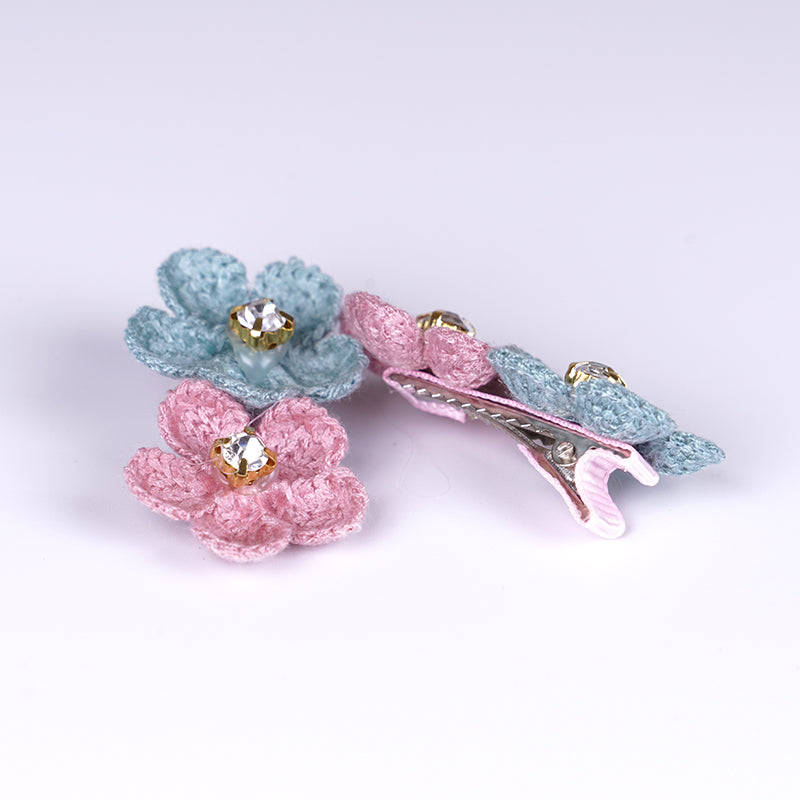Flower Pet Hair Clip-Pink&Blue (12 PCs/set) - A083