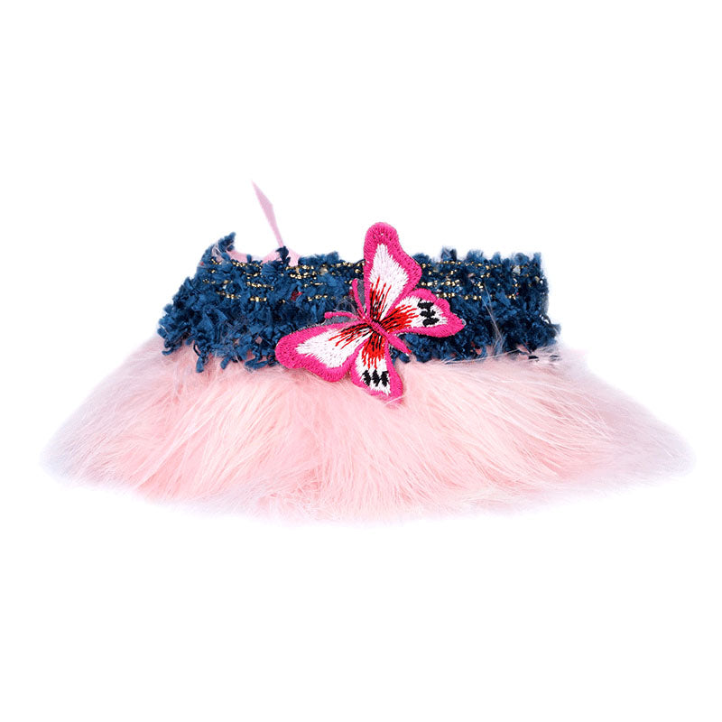 Pink Feather Collar with Butterfly - A044