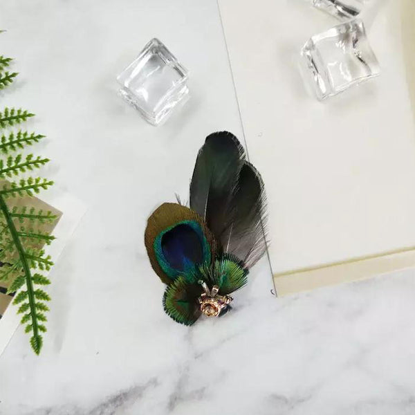 Peacock Feather Butterfly Pet Hair Clip - B003
