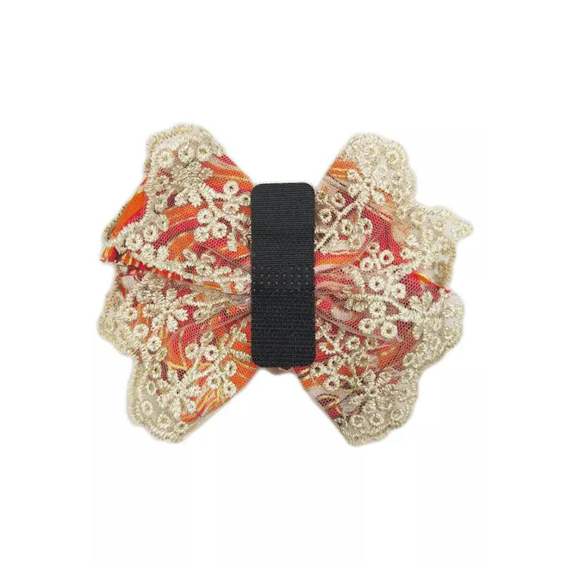 Traditional Japanese Style Lace Bowtie with Cornflower Bell Slider - B109