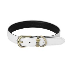 Comfortable Microfiber Pet Collar - White (Gold) - A080