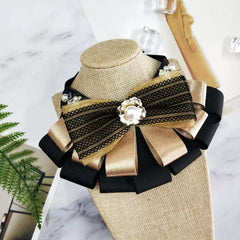 Golden Mocha Lace Ribbon Collar/Necklace - B001