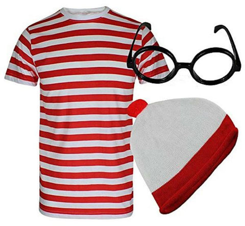 Red and white striped t shirt hat and glasses wally fancy dress set