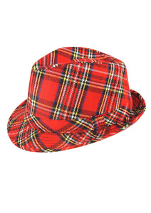 Tartan fancy dress adults unisex Scottish red trilby hat
