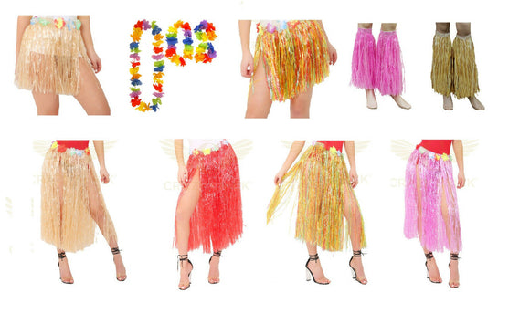 Hawaiian fancy dress hula skirts and garlands set