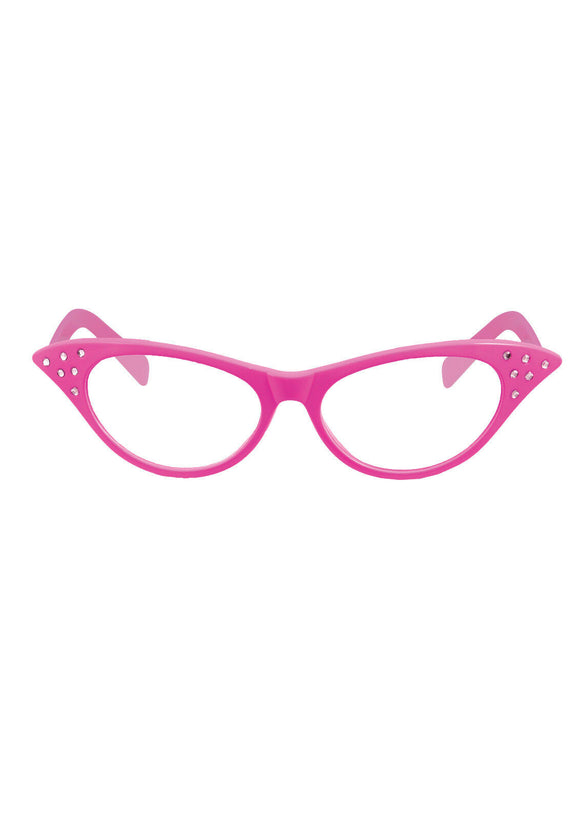 Pink 1950s Style Ladies Fancy Dress Glasses