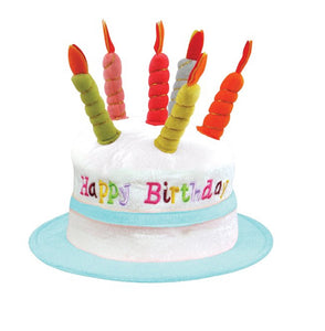 Happy birthday fancy dress cake hat with fake candles