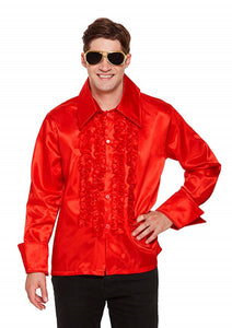 Men's / adults fancy dress 1980's style groovy red ruffle disco shirt