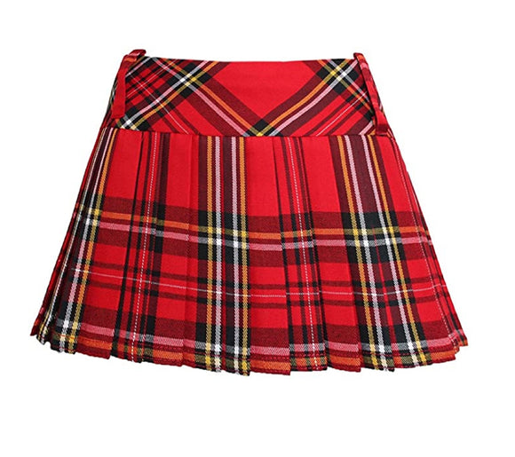 Ladies Red Tartan 12 Inch Pleated  Skirt