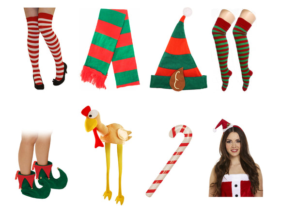 Assorted Christmas Xmas Fancy Dress COstume Accessories Elf & Santa
