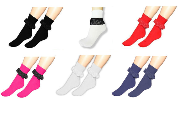 Ladies frilly girls cute crew / ankle length fashion socks