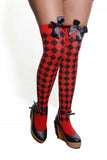 Red and black checked diamond over the knee stockings