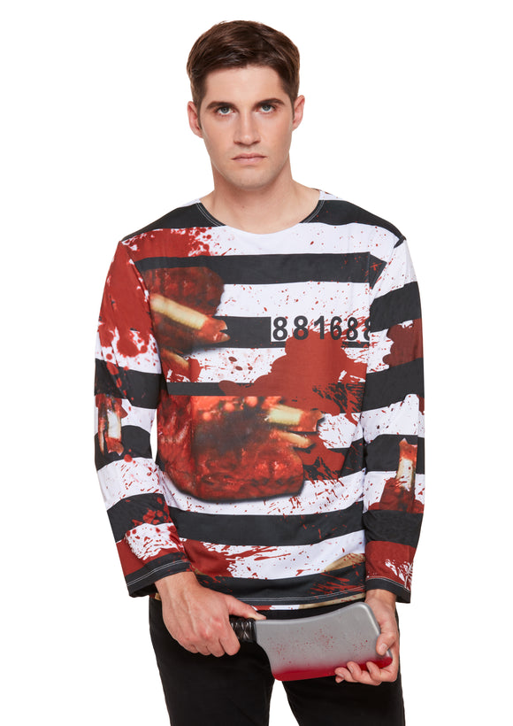 Halloween Themed Zombie Prisoner Blood Splattered Shirt