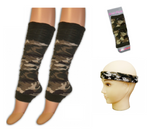Camouflage leg warmer wristband and headband set