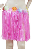 Short pink Hawaiian hula skirt with flowers