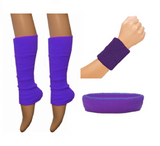 Purple leg warmer wristband and headband set
