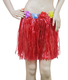 Short red Hawaiian hula skirt with flowers