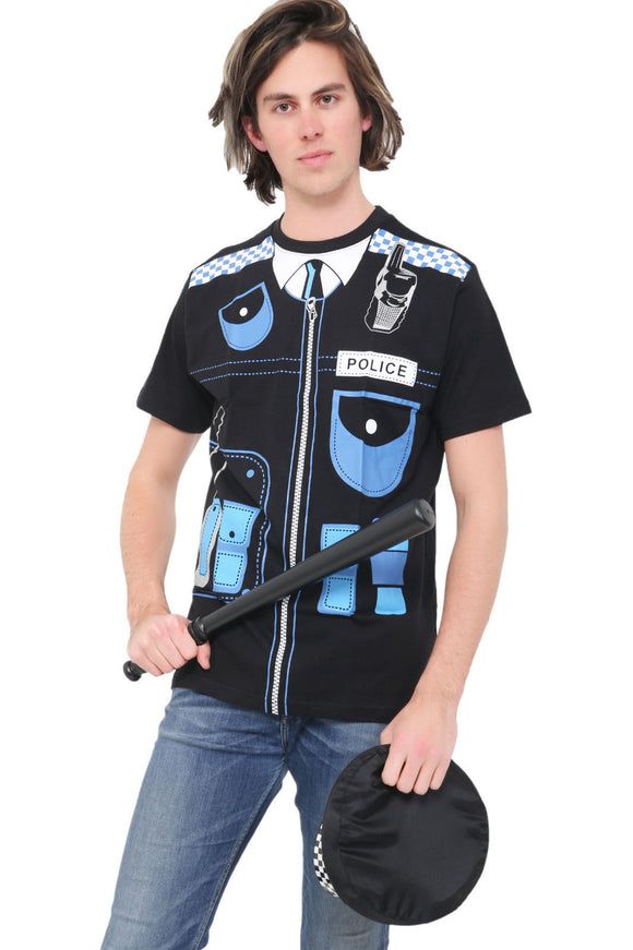 Fancy dress printed police officer uniform t-shirt