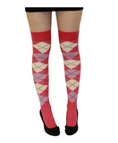 Ladies Over The Knee Argyle Checked Socks