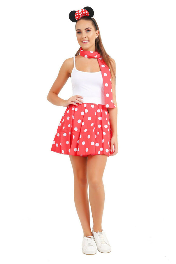 3 piece fancy dress red & white polka dot mouse set