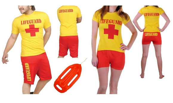 ADULTS UNISEX LIFEGUARD RED AND YELLOW BAYWATCH SET