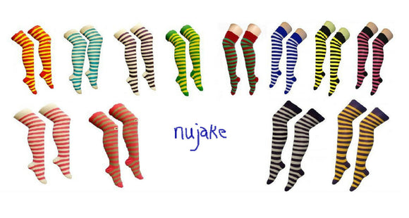 Ladies striped over the knee / thigh high stripy socks