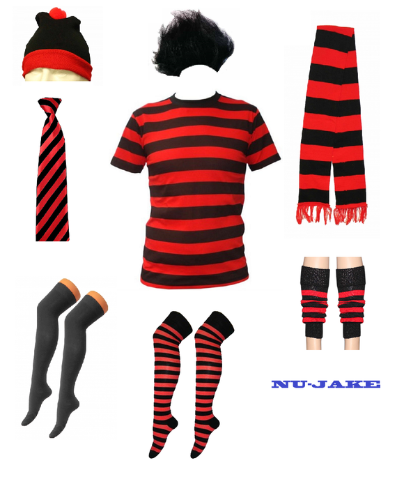 Fancy dress red and white striped assorted items