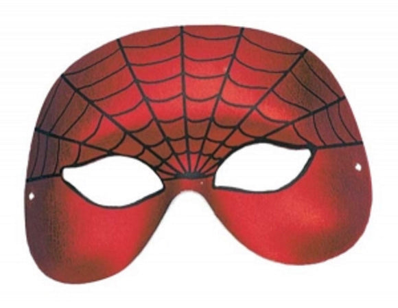 Red fancy dress party spider web design eye / face mask