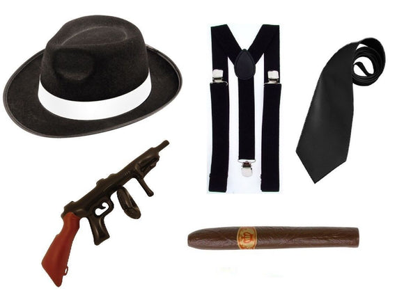 5 piece fancy dress black 1920's gangster party set