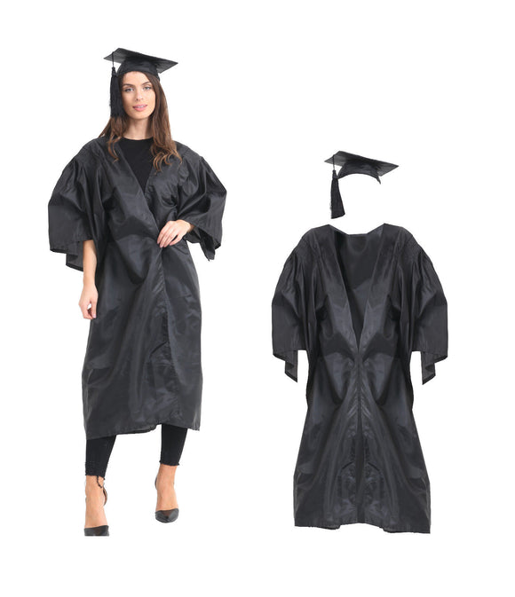 FANCY DRESS BLACK GOWN & MORTARBOARD CAP SET