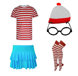 Red and white striped nerd / geek complete outfit set with turquiose