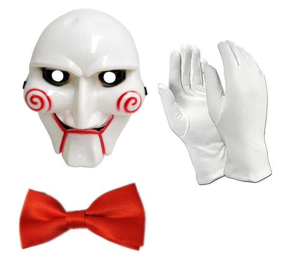 Fancy dress 3 piece saw mask gloves and bow tie set
