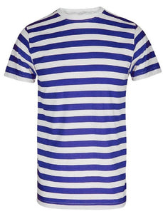 Blue and white striped fancy dress sailor t-shirt