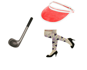 Fancy dress 3 piece visor socks and inflatable club set
