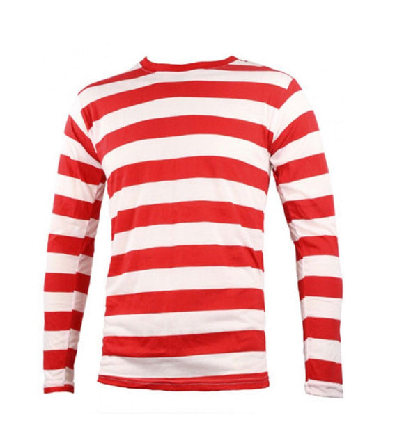 Adults red and white striped fancy dress t-shirt top