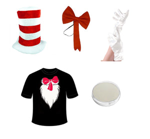 Adults & children's red & white crazy cat fancy dress book character - set & accessories