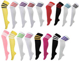 Assorted striped 118 style cotton rich over the knee socks