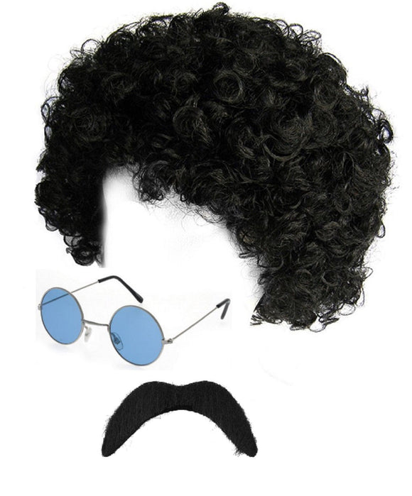 3 piece hippie / scouser fancy dress set - black afro wig / Blue lennon glasses / black moustache