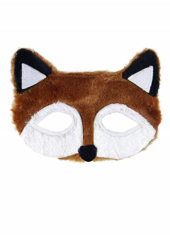 Fancy dress brown and white fur fantastic fox eye / face party mask